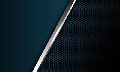 Obraz Abstract silver line slash overlap dark blue metallic hexagon mesh with blank space design modern luxury futuristic background vector illustration. - fototapety do salonu