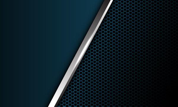 Abstract silver line slash overlap dark blue metallic hexagon mesh with blank space design modern luxury futuristic background vector illustration.