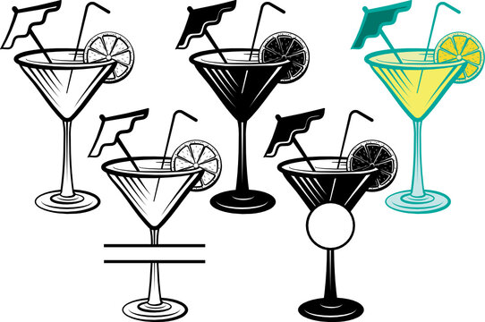 Martini Glass SVG Cut File   Margarita Glass With Lime Svg   Wine Glass Svg   Lime Svg   Lemon Svg   Split Monogram