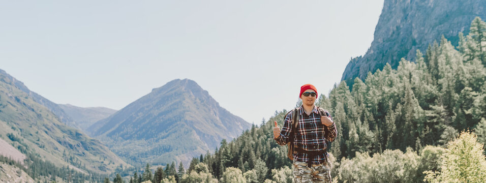 happy hiker in the mountains