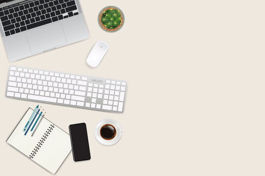 Realistic workspace elements, workplace with elements on desk top view,Modern Technology working Place, plant,keyboard,cup of coffee, smartphone,laptop,writting item vector graphic.