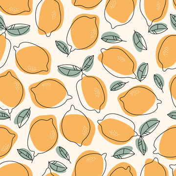 Hand drawn Lemons background. Seamless pattern with citrus. Design for wrapping paper, fabric, interior decor.