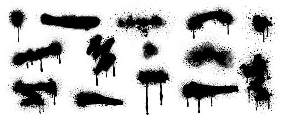 Black Spray Paint Vector. Brush stroke, Black splashes set, Black grunge with frame, Dirty artistic design elements, ink brush strokes, boxes, lines, frames for text.