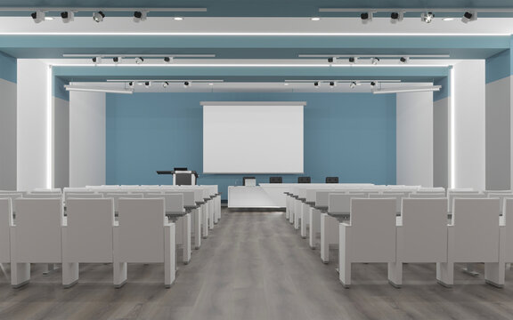 3d rendering of meeting hall interior design