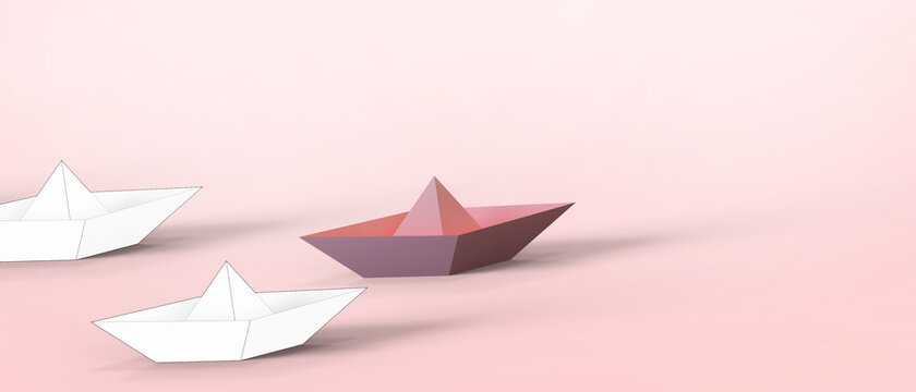 Leadership concept with Origami Paper ship leading on Red, Paper art design banner background- 3d rendering