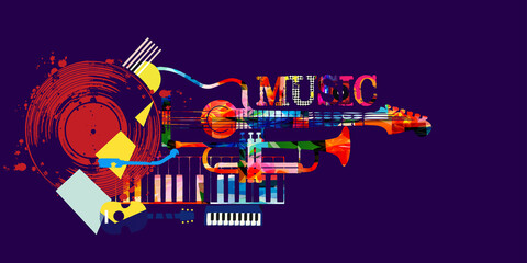 Fototapeta Musical promotional poster with musical instruments and lp vinyl record vector illustration. Artistic abstract design with vinyl record disc for concert events, music festivals and shows, party flyer obraz