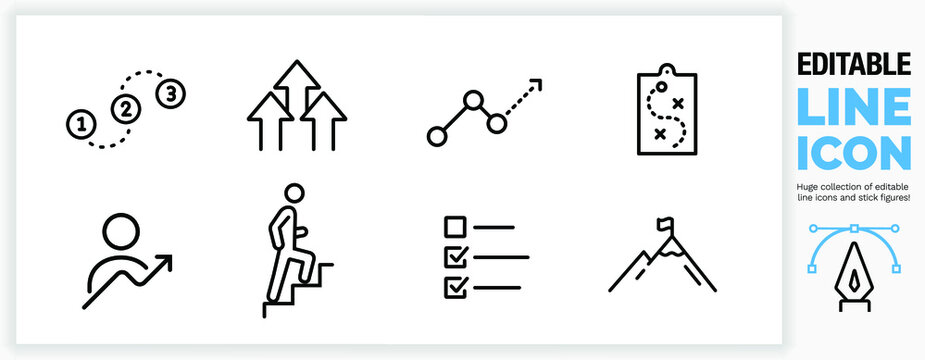 Editable line icon set of ambition, progress and personal growth