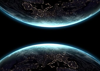 Composition of two globes with glowing continents seen from space