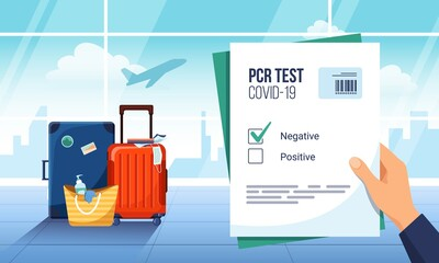 Fototapeta Tourist waiting for departure in an airport lounge with a negative result of a PCR Covid-19 test. Luggage and plane taking off on the background. Coronavirus protection, new normal of travelling obraz