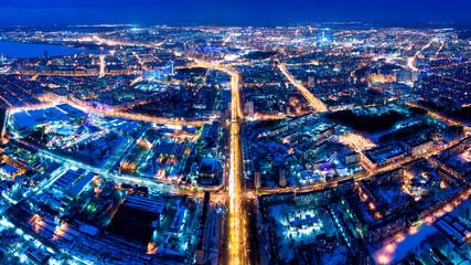 Yekaterinburg, Russia. Panorama of the night city aerial. Streetlights lit by lanterns - fototapety na wymiar