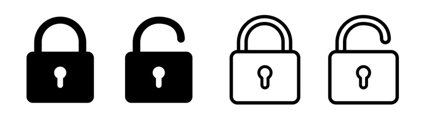 Fototapeta Lock icon collection. Locked and unlocked black line icon set. Flat security symbol. Vector illustration. obraz