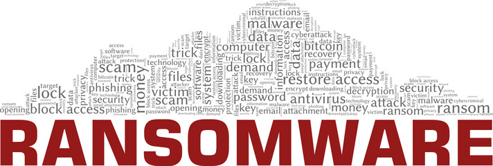 Ransomware vector illustration word cloud isolated on a white background. - fototapety na wymiar