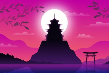 Canvas Prints Pink Japanese Temple Hill