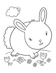 Cute Bunny Rabbit Coloring Book Page Vector Illustration Art