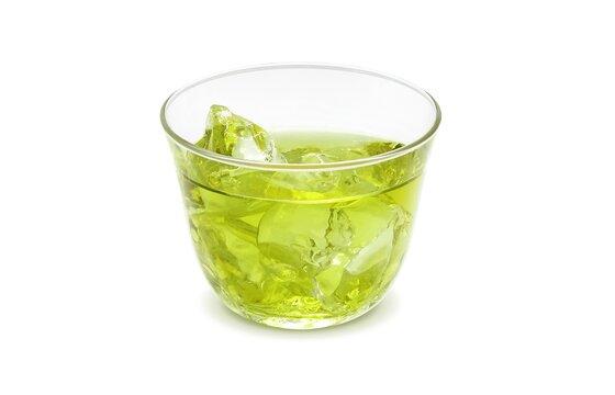 グラス 緑茶 飲み物 イラスト リアル 氷