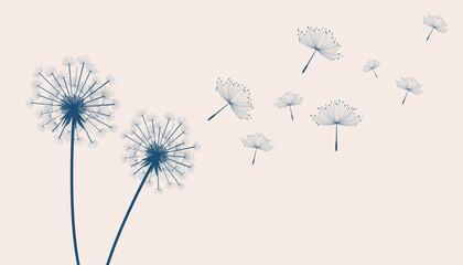 Obraz Flying Dandelion Flowers Beige - fototapety do salonu