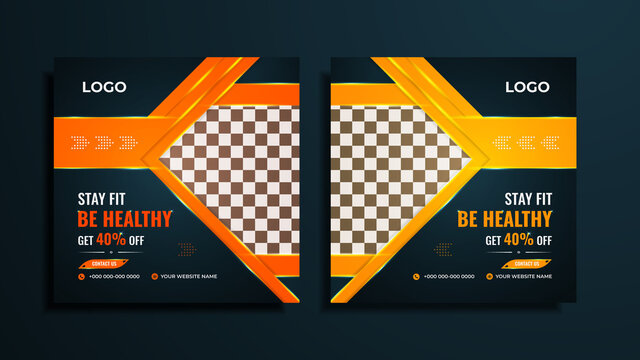 Gym and fitness social media post design pack with yellow and Orange color shapes with lights on a dark gradient background.