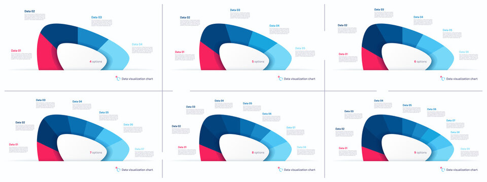 Vector pie chart infographic templates in the form of abstract shape. 4 5 6 7 8 9 options