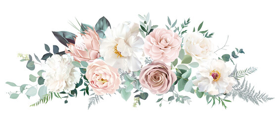 Obraz Pale pink camellia, dusty rose, ivory white peony, blush protea, nude pink ranunculus - fototapety do salonu