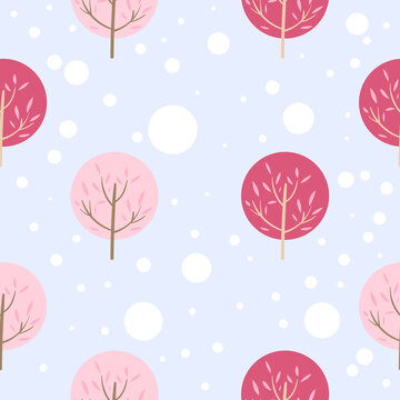Pink trees with snow pattern isolated on blue background, Vector Illustration  EPS 10