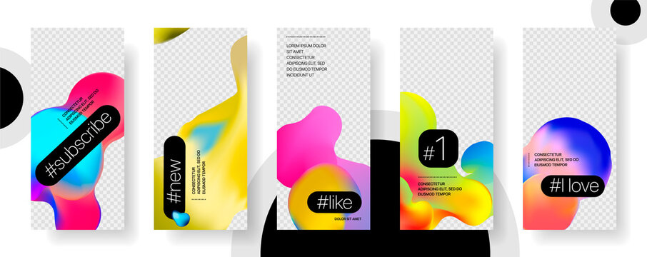 Template for social media stories. Photo frame set for social networks. Fluid Shapes Abstract Composition. Vector illustration.