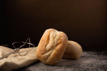 Homemade freshly baked bread on a kitchen table