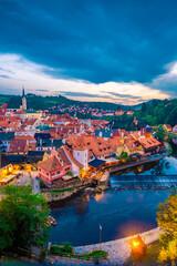 Evening in Czech Krumlov viewed from above
