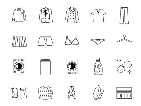 洗濯 クリーニング 洋服 線画 アイコンセット