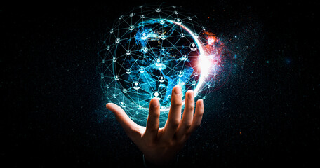 Obraz Global network connection covering earth with link of innovative perception . Concept of international trading and digital investment, 5G global wireless connection and future of internet of things . - fototapety do salonu