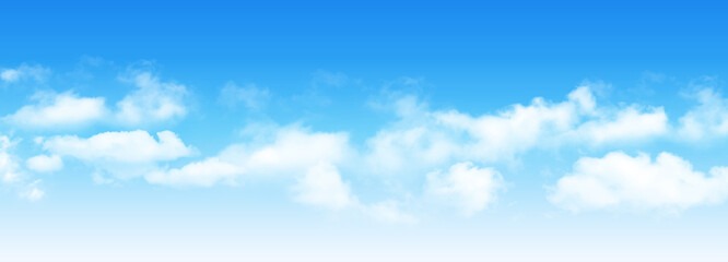 Fototapeta Sunny day background, blue sky with white cumulus clouds, natural summer or spring background with perfect hot day weather, vector illustration. obraz