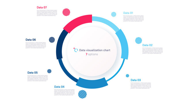 Vector pie chart infographic template in the form of pie chart divided by seven parts