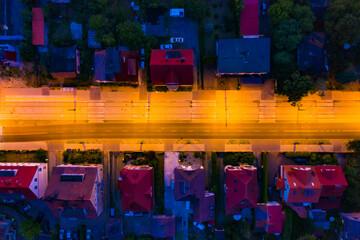 Nocny widok z lotu ptaka na ulicę Kazimierza Wielkiego,  miasto Gorzów Wielkopolski - fototapety na wymiar