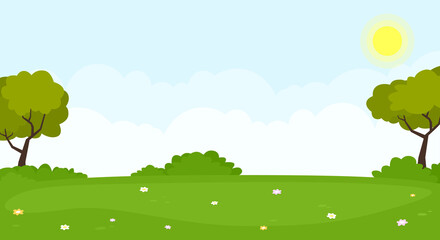 Nature landscape background. Beautiful summer panorama with green hills and tree. Vector illustration.