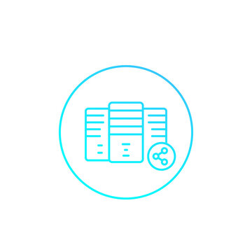 mainframe, server, shared hosting vector icon, linear