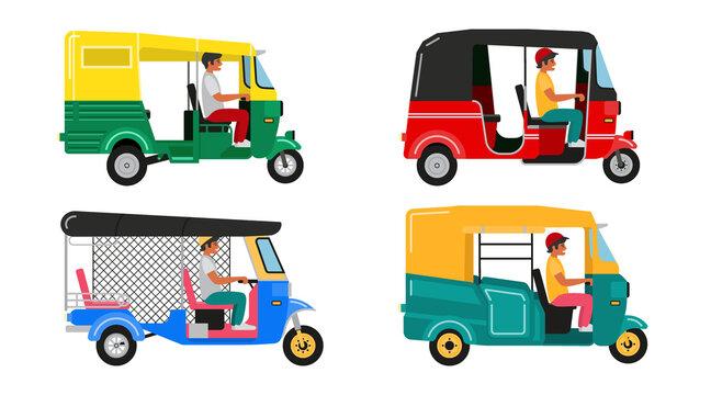 Set Indian motor rickshaw car. Asian tuk tuk. Vector illustration