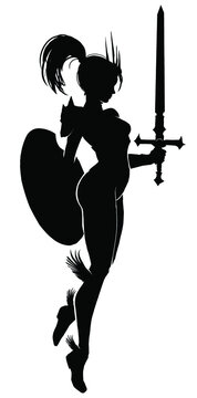 A black silhouette of a graceful warrior girl, she hovers in the air like Hermes on her winged sandals, holding a sword and shield in her hands. 2d illustration