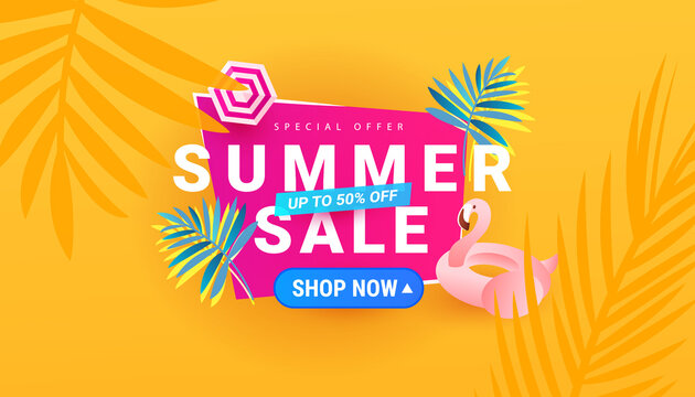 Colorful summer sale banner design background with flamingo and leaves. Vector Illustration