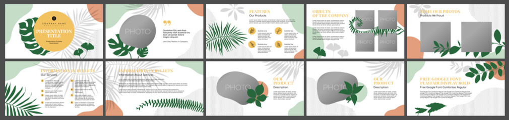 Fototapeta Presentation template, floral natural tropic leaves abstract shapes white background . For Power Point, ppt, or Keynote layout. Vector infographic. Business presentation or proposal, leaflet obraz