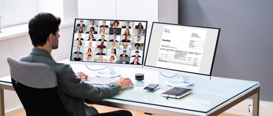 Obraz Working With Online E Tax Software - fototapety do salonu