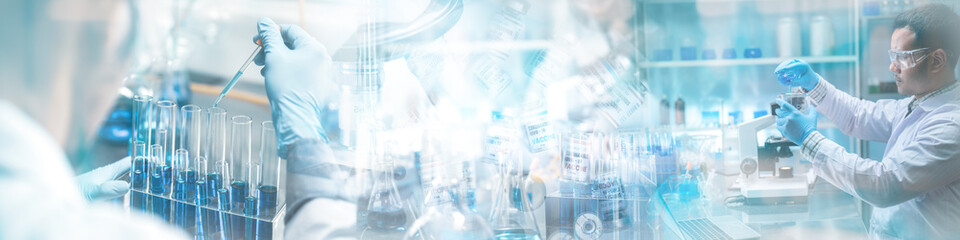 Obraz Banner panorama background, health care researchers working in science laboratory, medical science technology research work for test a vaccine, coronavirus covid-19 vaccine protection cure treatment - fototapety do salonu