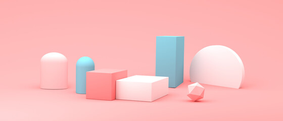 Abstract 3D render of cylinder podiums - fototapety na wymiar