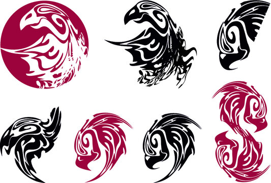 Tribal eagle symbols in dark red and black tones on white. Eagle in a circle and a set of twisted eagle symbols for tattoo, emblems, embroidery, prints on T-shirts, textiles, logos, etc.