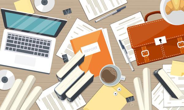 Working desk, desktop setup. Working from home or online learning concept. Top view. Flat vector illustration