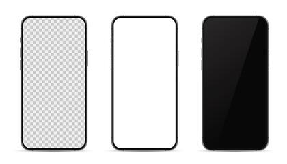 Fototapeta Set realistic trendy different black smartphone mockup with white empty transparent, white, black touch screen, evolution of smartphones. Detailed mockup smartphone, model mobile. obraz