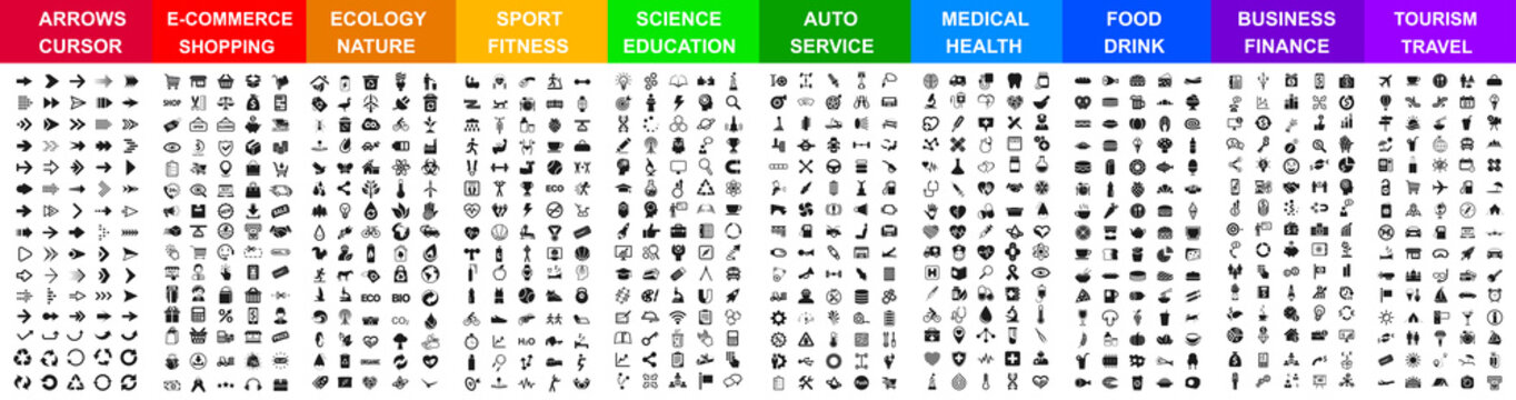 Big set icons by category: arrows, shopping, ecology, sport, science, auto, medical, food & drink, business, travel and many more for any cases of life using.