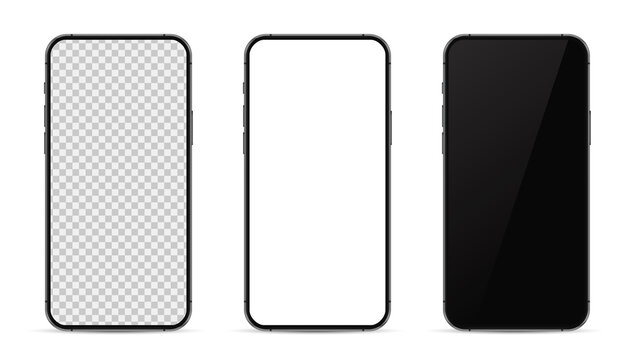 Set realistic trendy different black smartphone mockup with white empty transparent, white, black touch screen, evolution of smartphones. Detailed mockup smartphone, model mobile.