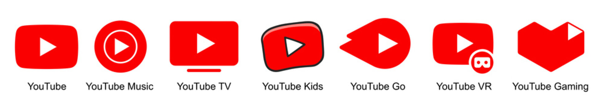 Kiev, Ukraine - May 15, 2021: Set Official logotypes of Youtube apps. Youtube: Music, TV, Kids, Go, VR, Gaming. Collection YouTube logos. Editorial vector