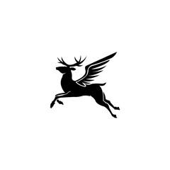 vector design template rain deer, logo winged deer