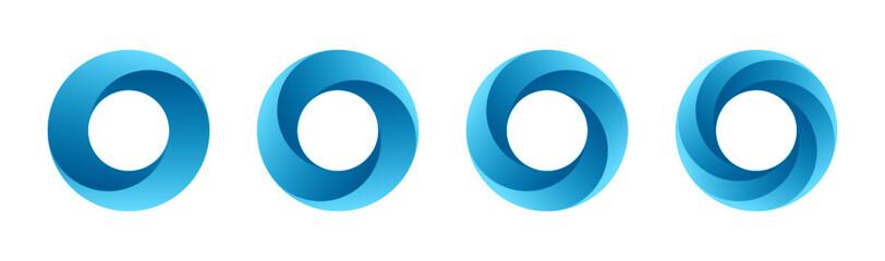 Fototapeta Abstract circular logo design set isolated on white background. Vector illustration. obraz