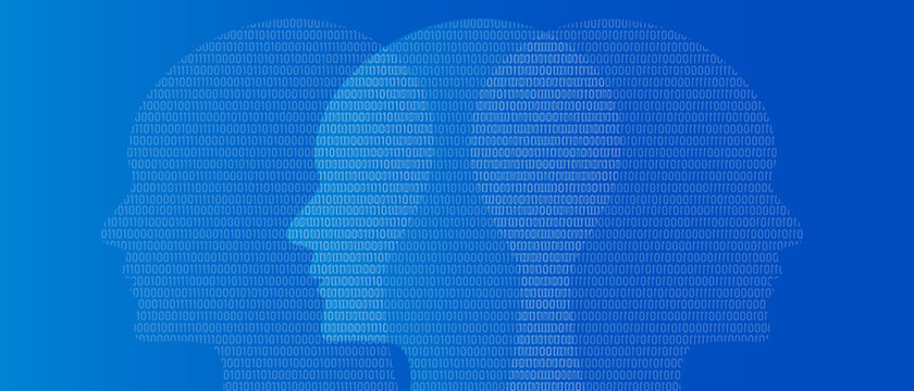 head binary number symbol of artificial intelligence thinking digital technology blue background zero and one
